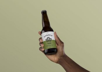 Hand Holding Beer Mockup