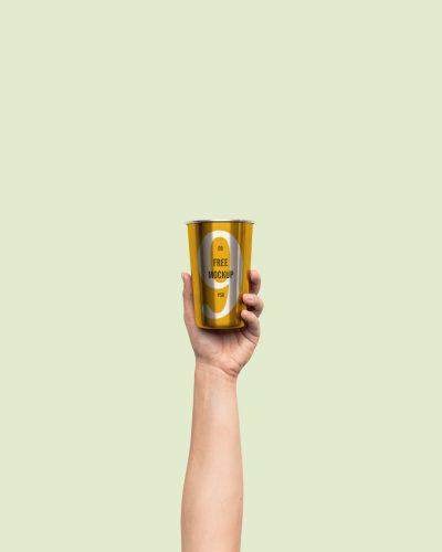 Hand Holding Metal Cup Mockup