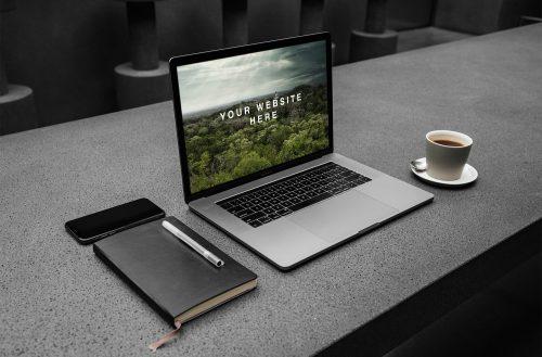 MacBook Pro Workspace PSD Mockup
