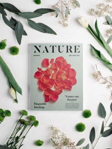 Magazine with Flowers Mockup