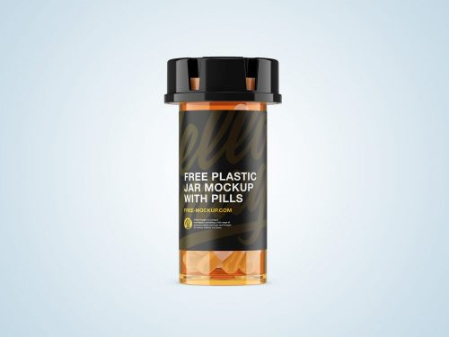 Plastic Orange Jar Mockup with Capsules