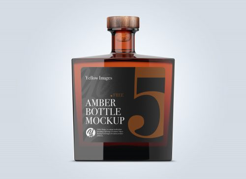 Square Amber Glass Bottle Mockup