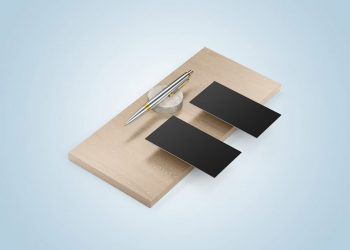 Two Business Cards with Pen Mockups
