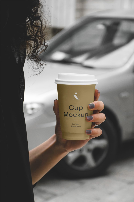 Woman Holding Coffee Cup Mockup