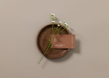 Business Сard with a Flower Mockup