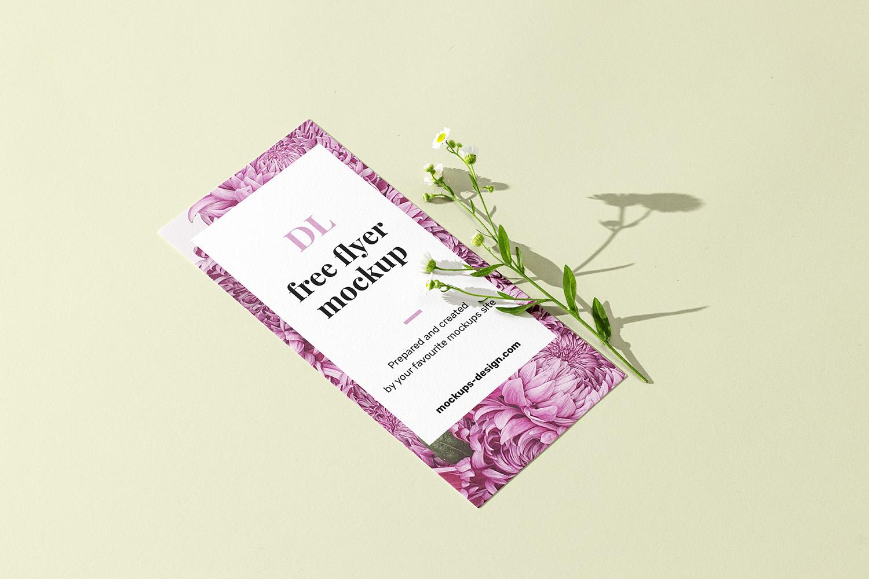 DL Flyer with Flower Free Mockup