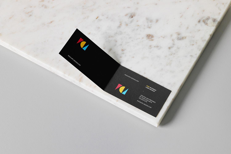 Free Folded Business Cards Mockup