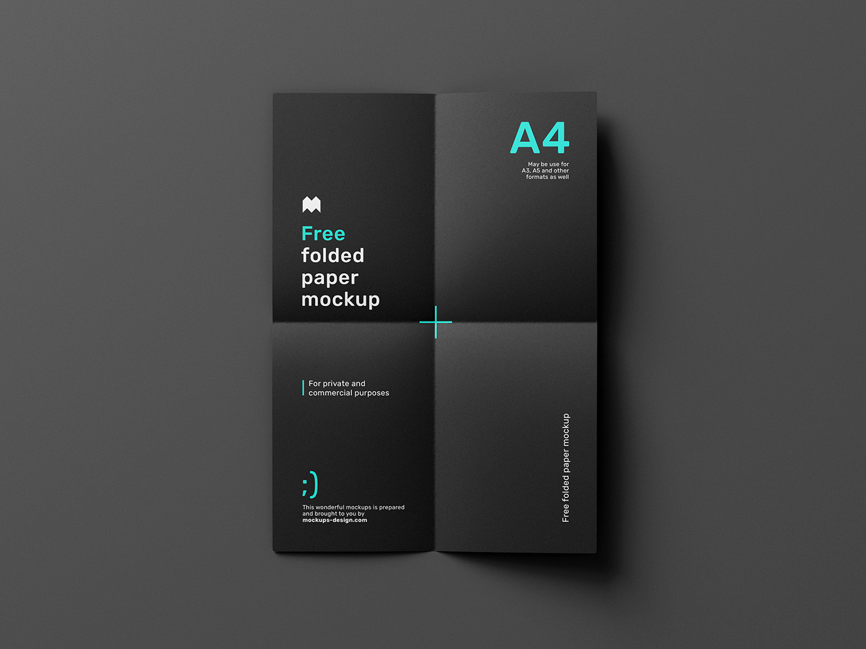 Free Folded Paper Mockup