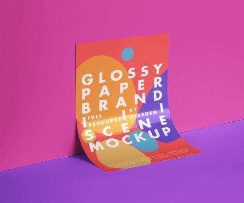 Glossy Psd Paper Mockup