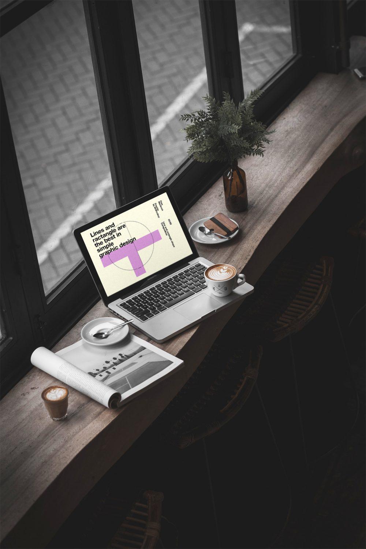 MacBook Pro in Cafe Mockup