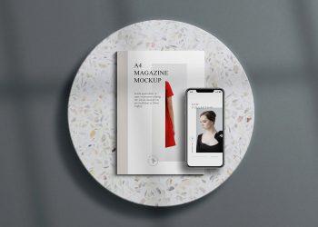 A4 Magazine with iPhone Free Free Mockup Scene