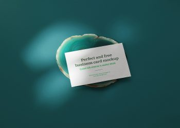 Business Card on Green Agate Mockup