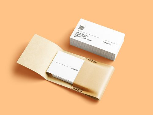 Business Cards with Leather Card Holder Free Mockups