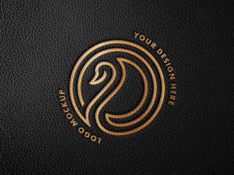 Debossed Leather Foil Logo Mockup