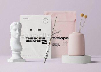 Envelope and Postcard Free Mockup