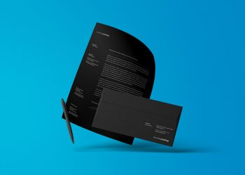 Floating Letterhead with Envelope Mockup