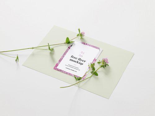 Floral A6 Flyer Free Mockup