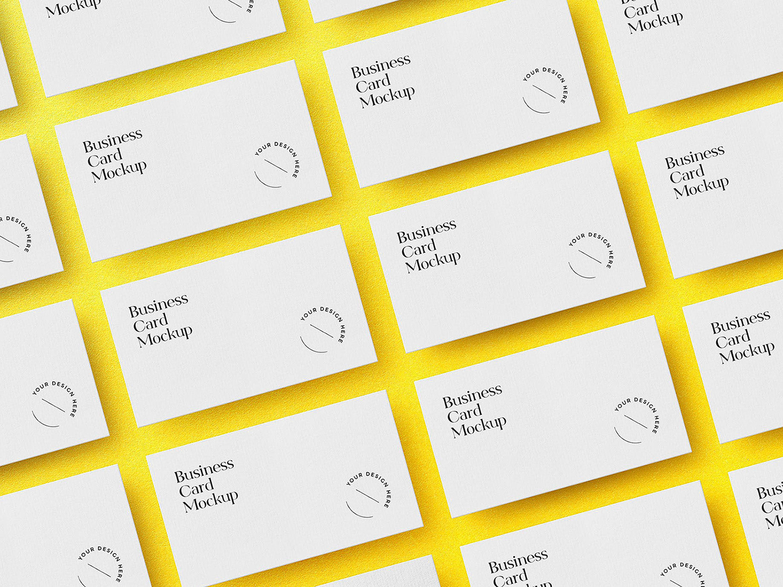 Free Business Cards Grid Mockup