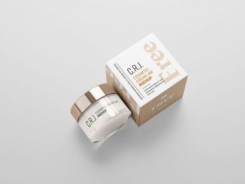 Free Cosmetic Box with Jar Mockup