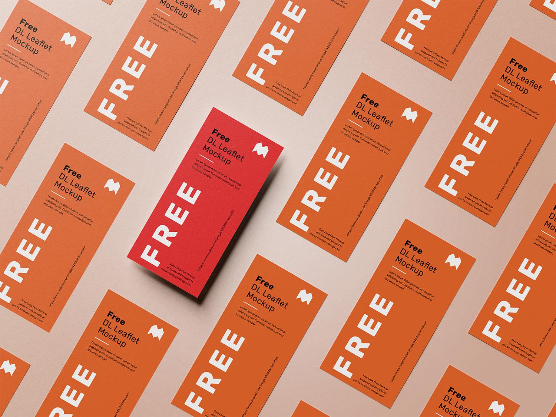 Free DL Leaflet Grid Mockup