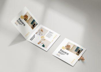 Free Folded Square Brochure Mockup