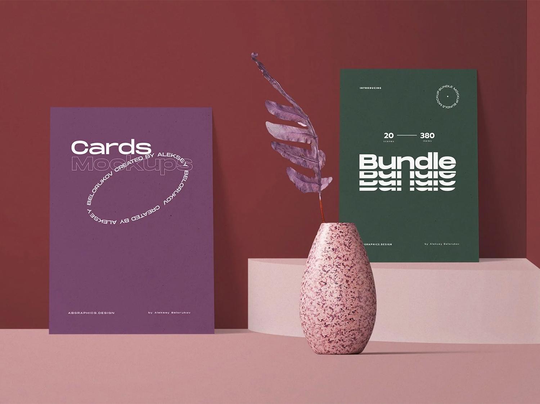 Free Invitation Paper Cards Mockup Scene