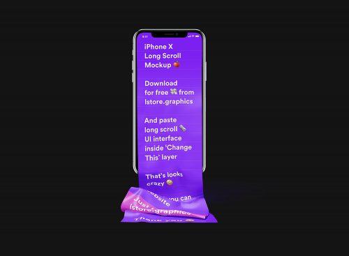 Free Long Scroll iPhone X Mockup