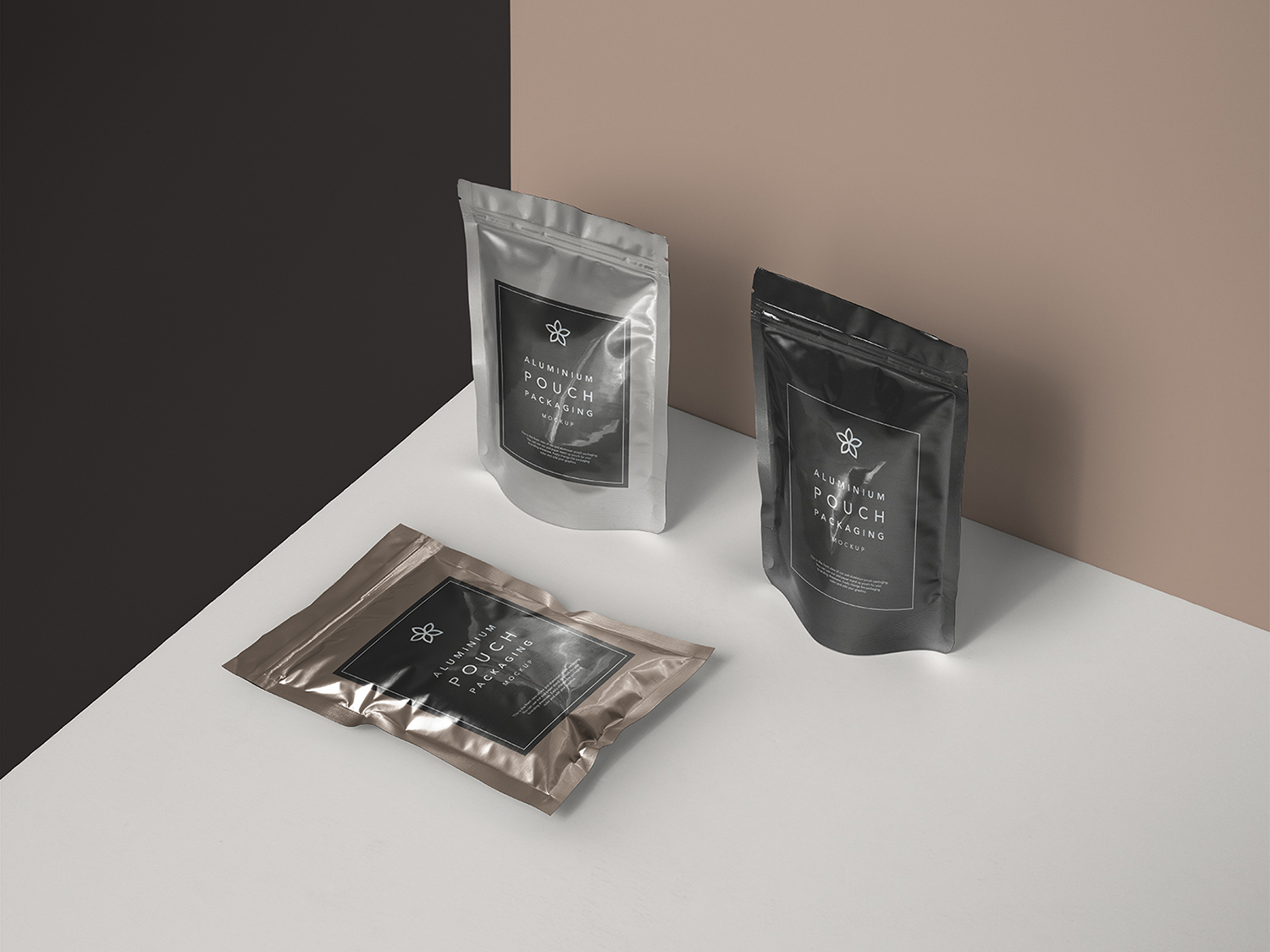 Free Metal Foil Pouch Packaging Mockup