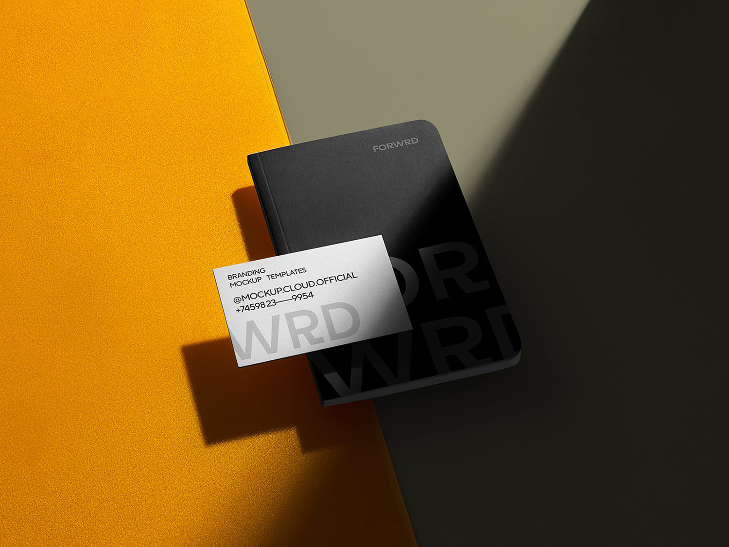Free Notebook with Business Card Mockup