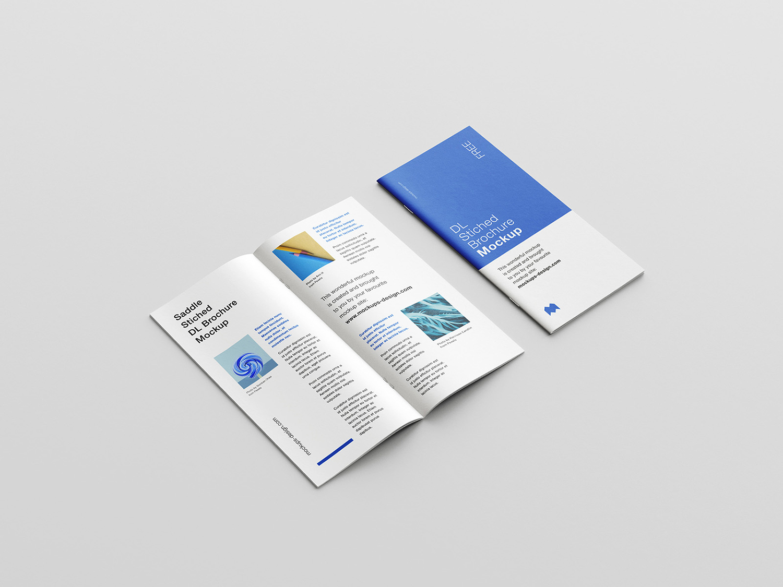 Free Saddle Stitched DL Brochure Mockup