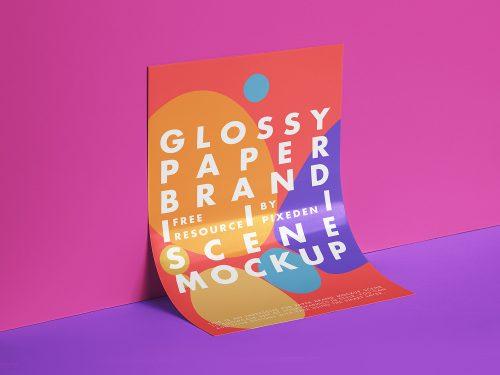 Glossy Paper Branding Free Mockup
