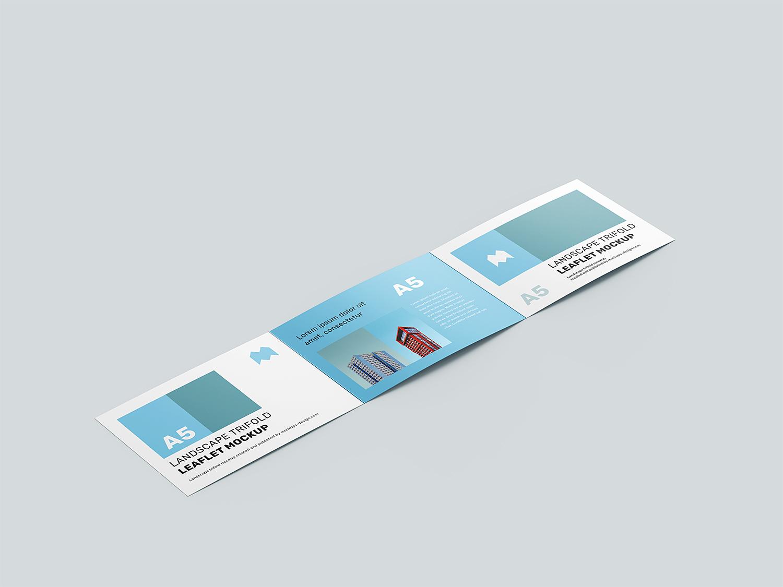 Landscape Trifold Leaflet Free Mockup