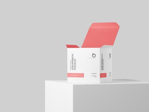 Square Box PSD Free Mockup