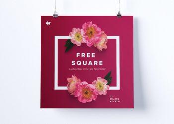 Square Hanging Poster Mockup