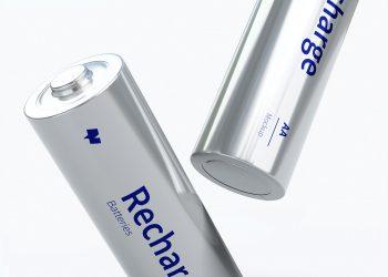 Two AA Batteries Mockup Close-Up Scene