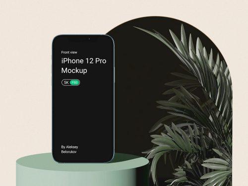 iPhone 12 Pro with Plant Free Mockup Scene