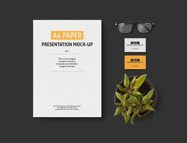 A4 Paper Presentation Free Mockup