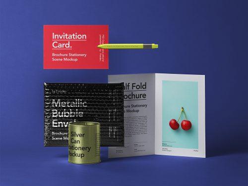 Bubble Mailer with Half-Fold Brochure Free Mockup