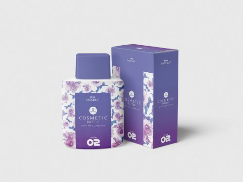 Cosmetic Bottle with Box Packaging Free Mockup