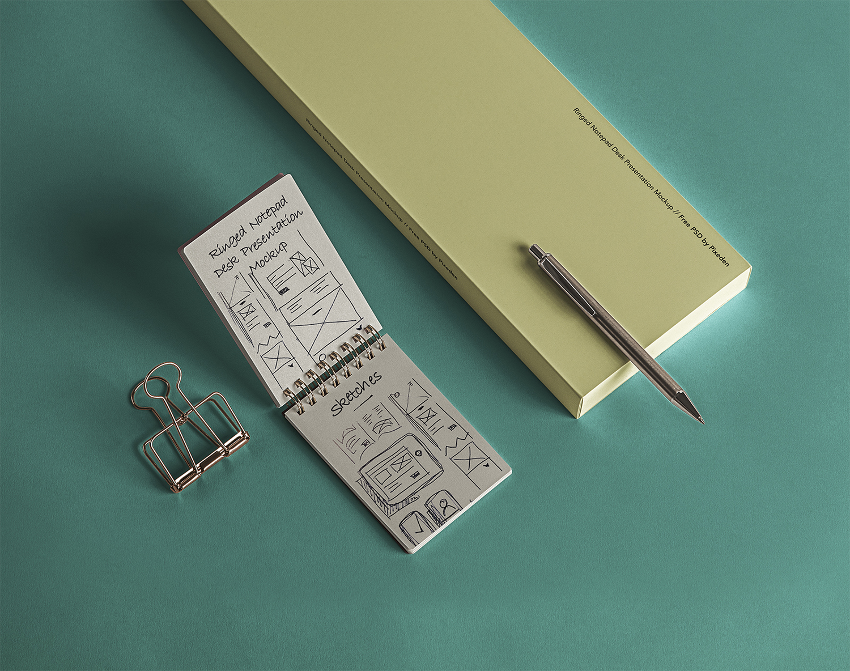 Desk PSD Ringed Notepad Mockup
