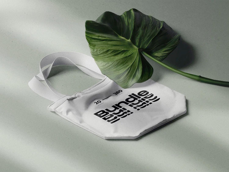 Fabric Bag PSD Free Mockup with Tropic Leaf