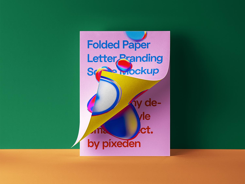 Folded Letter PSD Paper Free Mockup