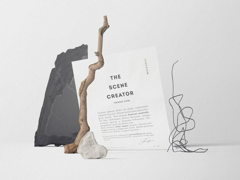 Free A4 Paper Mockup Scene