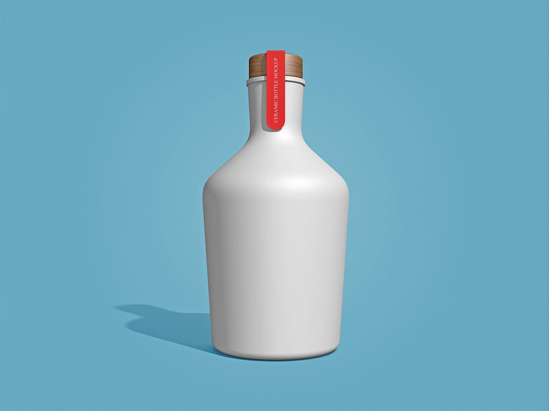 Free Ceramic Bottle Mockup