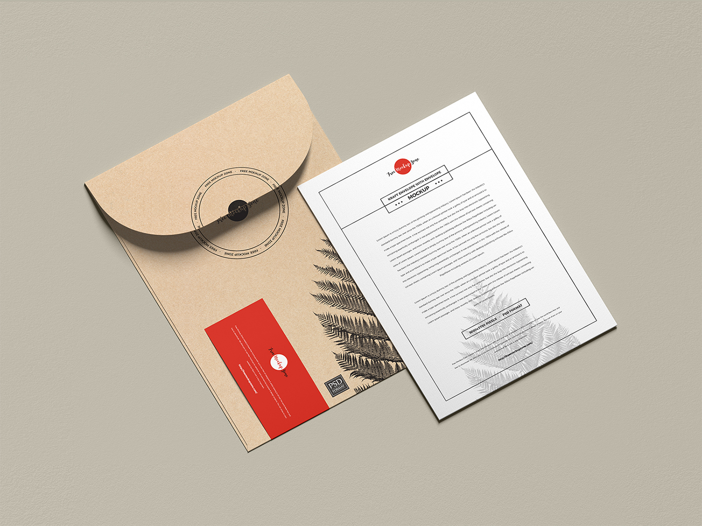 Free Envelope with Invitation Card Mockup