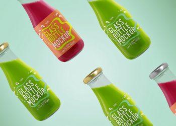 Free Glass Bottle Mockup