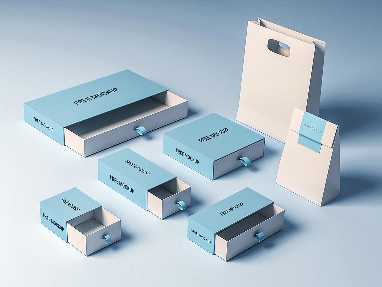 Free Sleeve Box Mockup Set