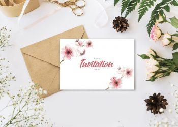 Invitation Free Mockup with Envelope