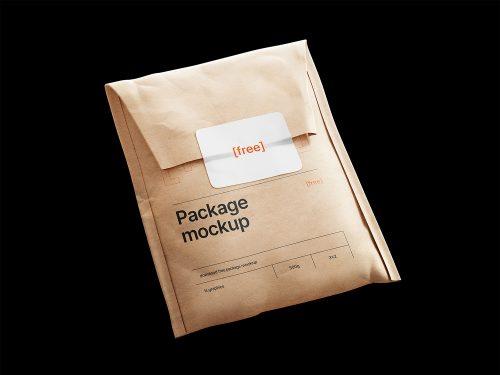 Kraft Paper Postal Bag with Sticker Free Mockup