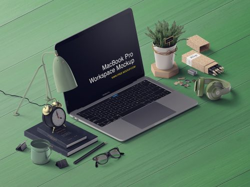 MacBook Pro Free Mockup Workspace Scene